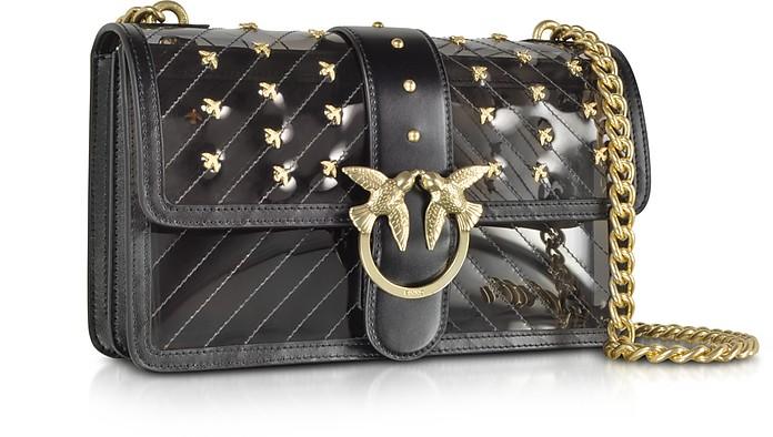 on sale 1782a 945ce Pinko Black Transparent Plastic Love Shoulder Bag