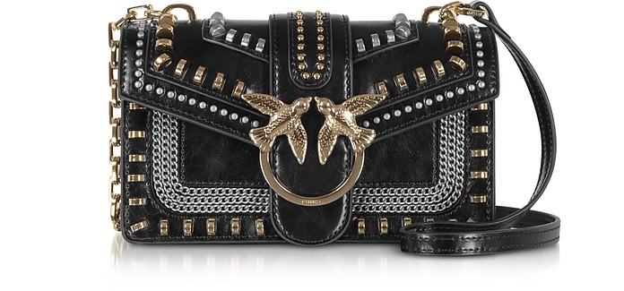 Love Mini Mix Studded Nappa Leather Shoulder Bag - Pinko