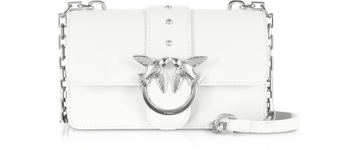 White Grainy Leather Love Mini Simply Shoulder Bag - Pinko