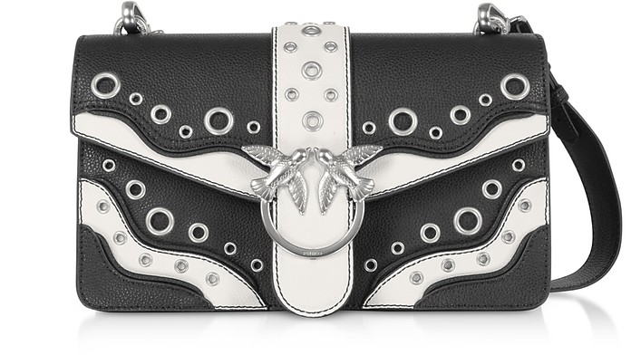 Black Grainy Leather Love Classic Romantic Shoulder Bag - Pinko