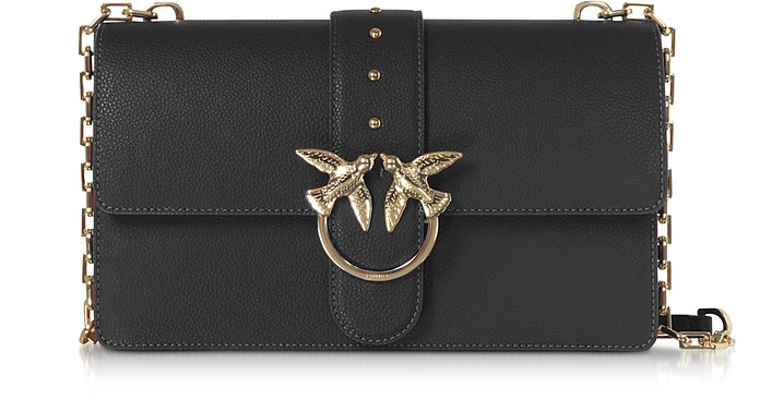 Black Grainy Leather Love Classic Simply Shoulder Bag - Pinko