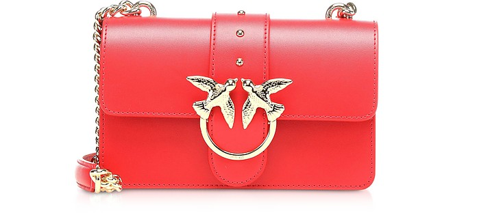 Red Love Mini Simply Leather Shoulder Bag - Pinko