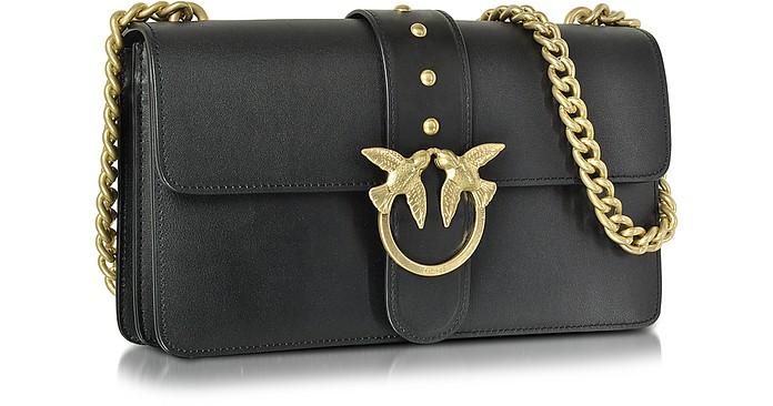 buy popular f559c ca287 Love Simply Black Leather Shoulder Bag w/Golden Chain