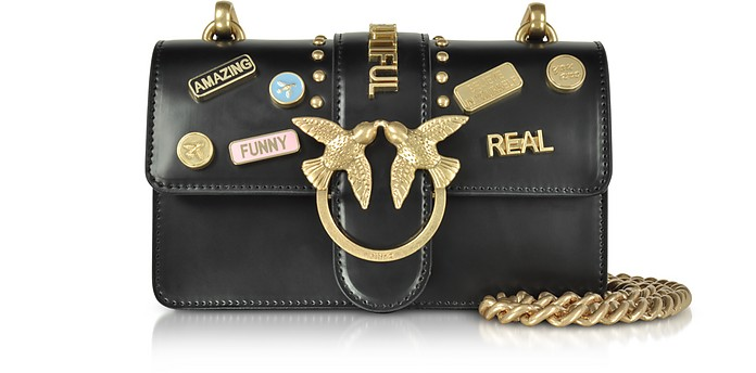 Pinko Mini Love Pins Black Eco Leather Shoulder Bag At Forzieri