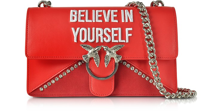 Love Believe In Yourself Borsa con Tracolla in Eco Pelle Rosso Rubino Pinko lZXosI