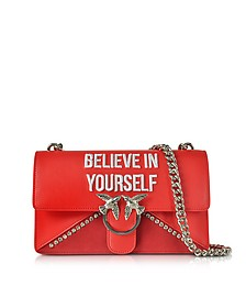 Love Believe In Yourself Red Eco Leather Shoulder Bag - Pinko