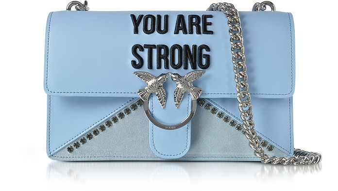 Love Strong Light Blue Eco Leather Shoulder Bag - Pinko