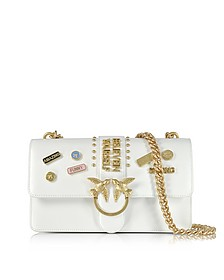 Love Pins White Eco Leather Shoulder Bag - Pinko