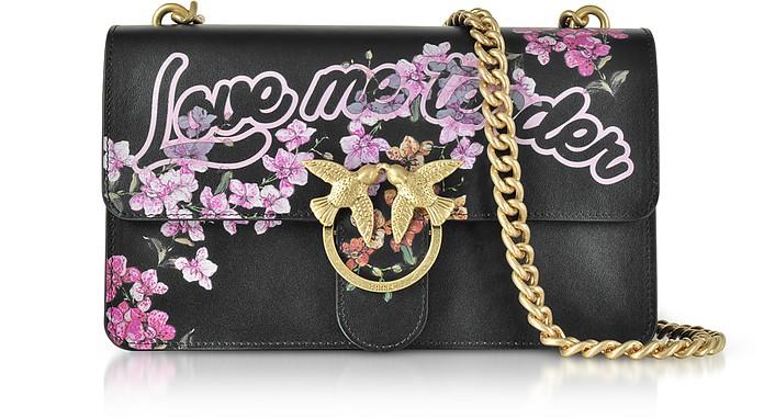 Love Me Tender Flowers Black Eco Leather Shoulder Bag - Pinko