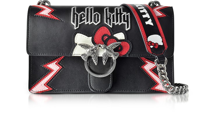Love Hello Kitty Rock Black Eco Leather Shoulder Bag - Pinko