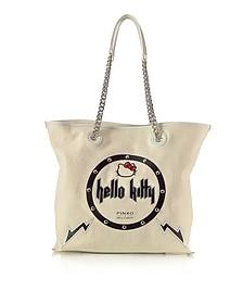 Hello Kitty Rock White Canvas Shopping Bag - Pinko