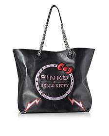 Hello Kitty Ribbon Maxi Black Eco Leather Tote Bag - Pinko