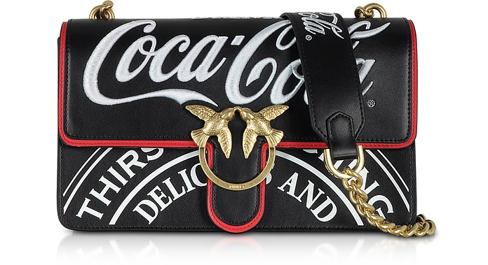 f345f867d175 Pinko Love Luppolo Black Print Eco Leather Shoulder Bag w Embroidery ...
