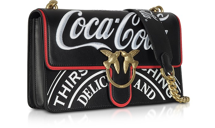 89687540ea89 Love Luppolo Black Print Eco Leather Shoulder Bag w Embroidery - Pinko.  Sold Out