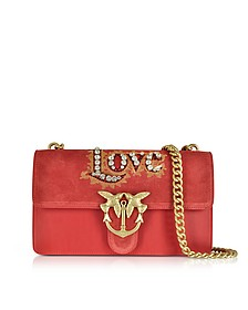 Love Suede and Leather Shoulder Bag w/Crystals - Pinko