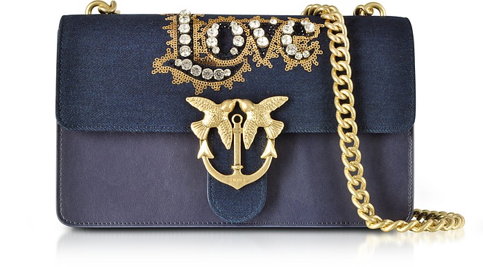 Love Denim and Leather Shoulder Bag w/Crystals - Pinko