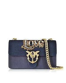 Love Denim and Leather Shoulder Bag w/Crystals - Pinko