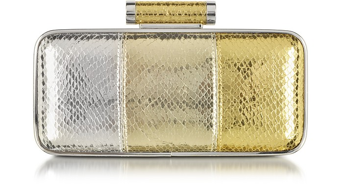Sigma Silver and Gold Snake Print Clutch - Pinko