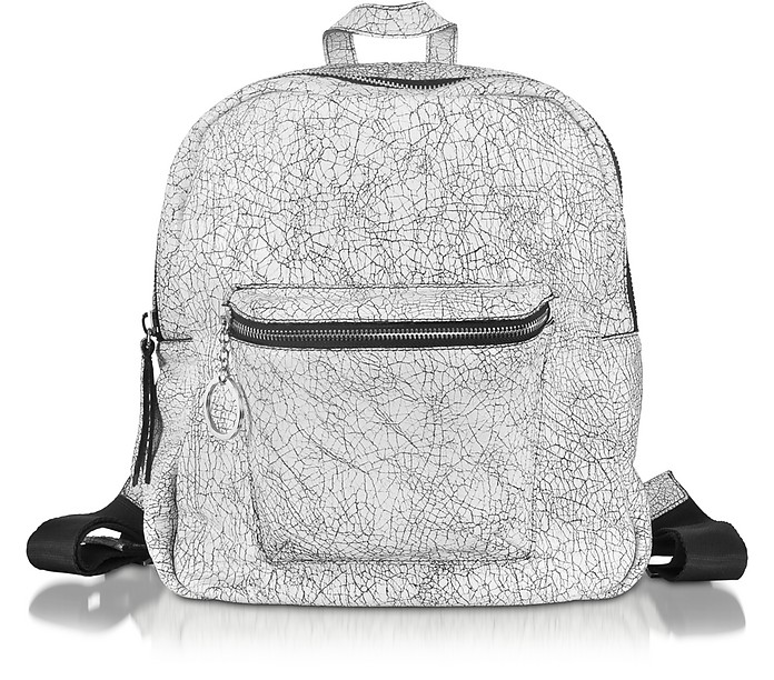 Spettrale White and Black Cracked Leather Backpack - Pinko