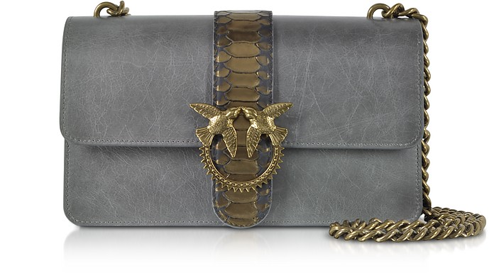 Dark Grey Love Python Western Shoulder Bag - Pinko
