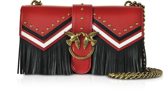 Love Tricolor Leather Fringed Shoulder Bag - Pinko