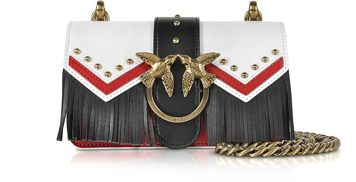 Mini Love Tricolor Leather Fringed Shoulder Bag - Pinko