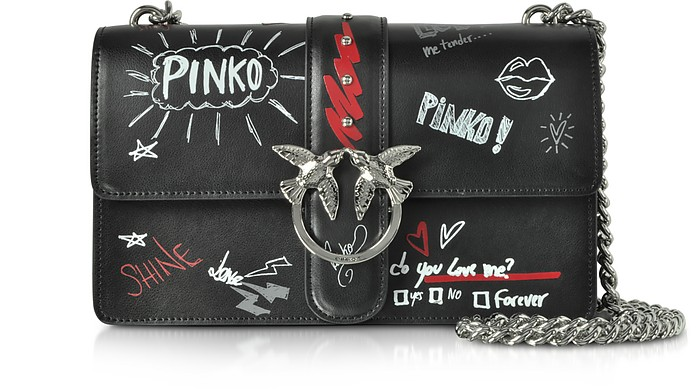 Love Graffiti Leather Shoulder Bag - Pinko