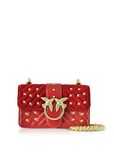 Velvet and Leather Mini Love Metal Birds Shoulder Bag - Pinko