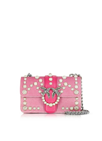 Mini Love Velvet Pearls Shoulder Bag - Pinko