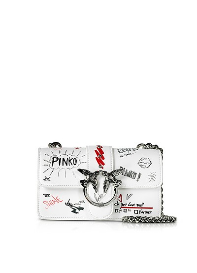 White Mini Love Graffiti Shoulder Bag - Pinko