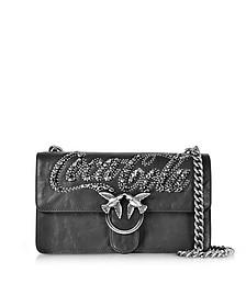 Love Trilogy Black Leather Shoulder Bag - Pinko