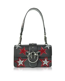 Mini Love Stars Black Leather Shoulder Bag - Pinko