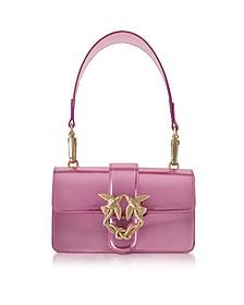 Mini Love Stars Azalea Pink Laminated Leather Shoulder Bag - Pinko