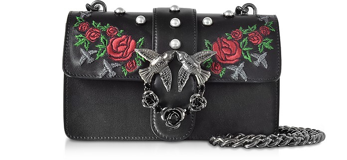 Mini Love Borsa con Tracolla in Pelle Nera con Rose e Borchie Pinko ... 56779d3bee1