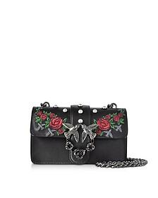 Mini Love Jeweled Black Embroidery Leather Shoulder Bag w/Pearls - Pinko