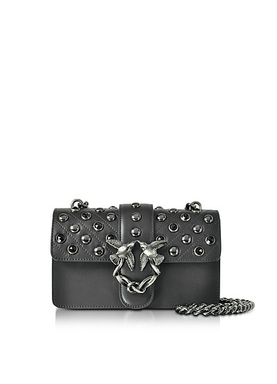 Mini Love Black Matte Leather Shoulder Bag w/Studs and Crystals - Pinko