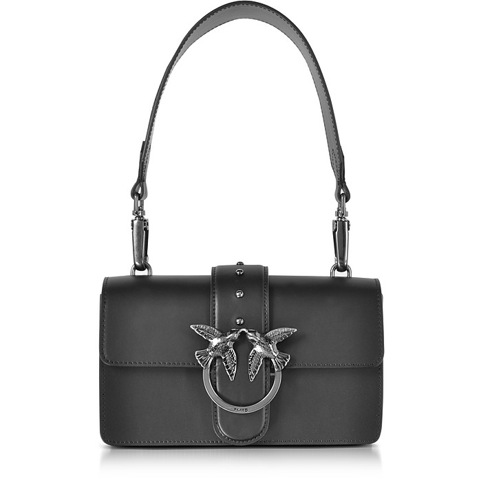 487cc63ec88d Pinko Mini Love Black Matte Leather Shoulder Bag at FORZIERI UK