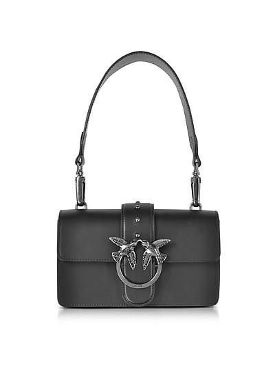 Mini Love Black Matte Leather Shoulder Bag - Pinko