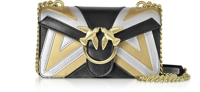 Mini Love Chevron Intarsio Metallic Leather Shoulder Bag - Pinko