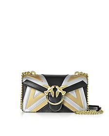 Mini Love Chevron Intarsio Metallic Leather Shoulder Bag