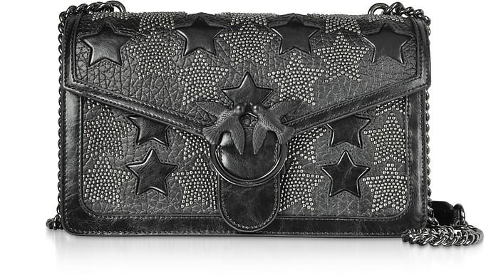 Love Starry Black Shoulder Bag w/ Studded Stars - Pinko