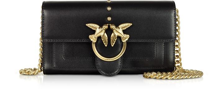 Black Silky Leather Houston Wallet/Clutch w/Chain Strap - Pinko