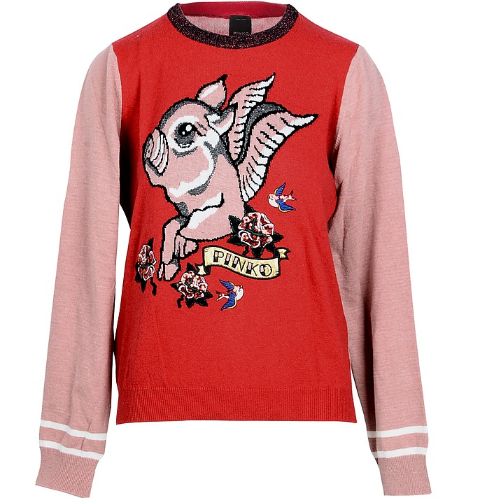 Red and Pink Women's Sweater - Pinko / ピンコ