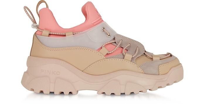 Sneakers Cumino in Pelle e Suede Rosa  - Pinko