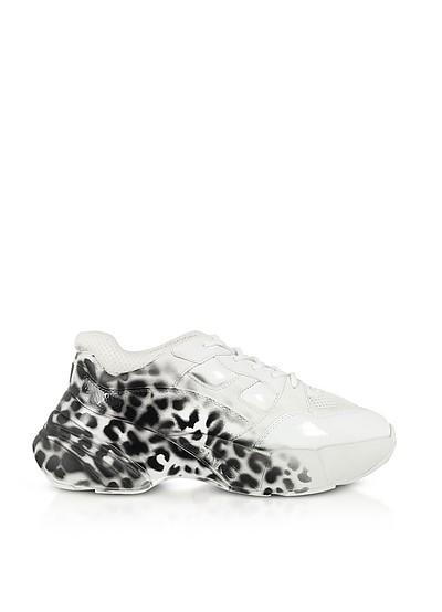 Rubino 3 Shoes To Rock Sneakers in Pelle Bianco Ottico Stampa Animaliér - Pinko