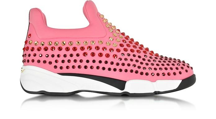 Gem Turbine Pink Neoprene w/Red Strass Sneaker - Pinko