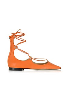 Mercurio Orange Leather Pointed Ballet Flats - Pinko