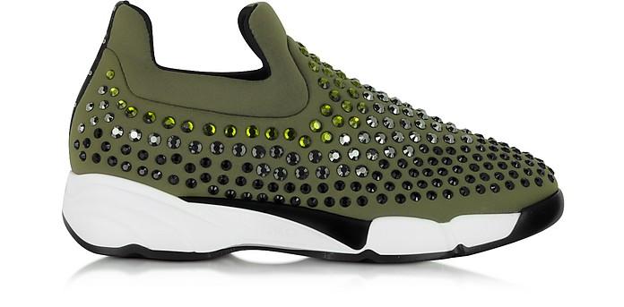 Gem Turbine Khaki Neoprene w/Light Green Strass Sneaker - Pinko
