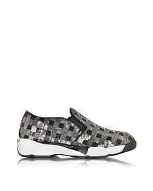 Sneaker in Canvas e Paillettes Argento - Pinko