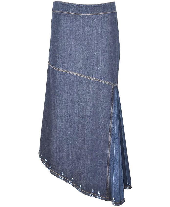 Women's Blue Denim Asymmetrical Long Skirt - Pinko